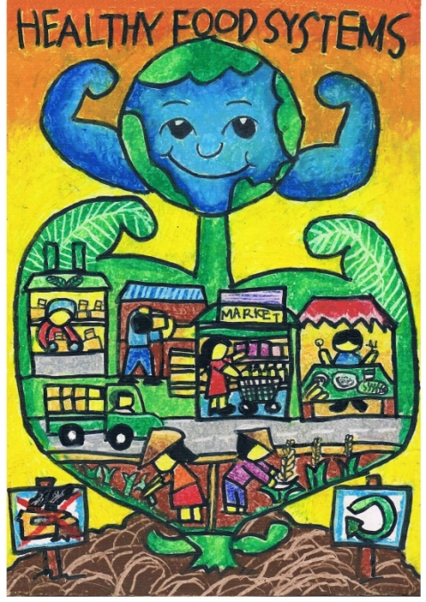 Maailma toidupäeva plakatikonkursi töö. Autor: Ange Sealtiel Muñoz, Filipiinid.