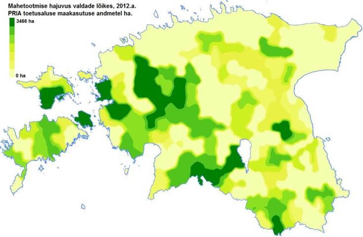 Kus on kõige rohkem mahepõllumajandusmaad?